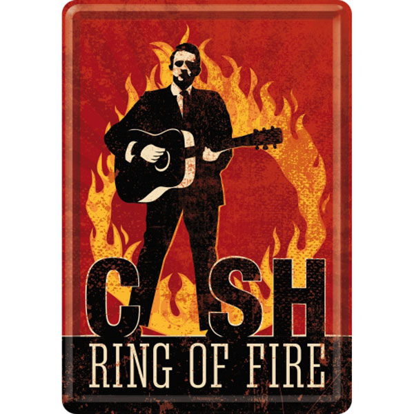 Blechpostkarte - Johnny Cash - Ring Of Fire