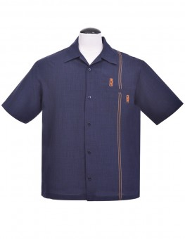 Steady Hemd - Tiki Retro Stitch Shirt, Navy