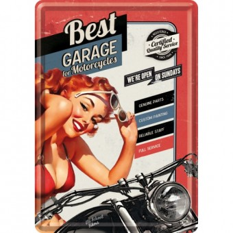 Blechpostkarte - Best Garage - Red