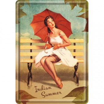 Blechpostkarte - Pin Up - Indian Summer