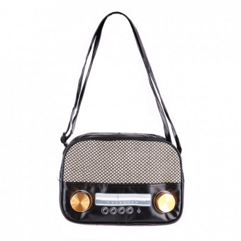 Radio Bag - Small, Black with gold buttons