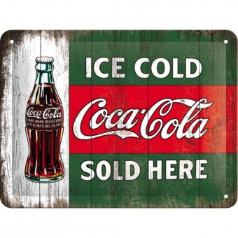 Blechschild 15x20 cm - Coca Cola - Ice Cold Sold Here