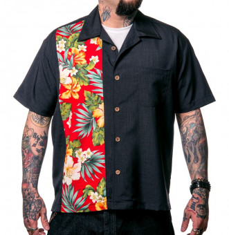 Steady-Hemd - Hibiscus Tiki Button Up Shirt - Black