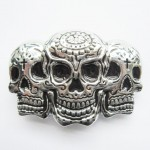 Gürtelschnalle - Rhinestone Skulls