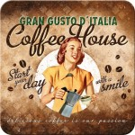 Metall-Untersetzer-SET 5x - Coffee House Lady