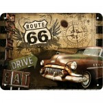 Blechschild 15x20 cm - Route 66 Road Trip