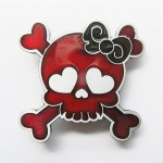 Gürtelschnalle - Girlie Skull Red