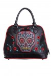 Purse - Black With Skull And Flowers