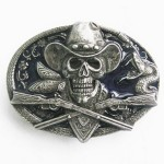Gürtelschnalle - Cowboy Skull with Hat