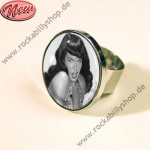 Ring - Bettie Page - Pin Up - Schwarz-Weiß
