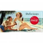 Blechschild 25x50 cm - Coca-Cola - Beach Couple