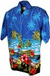 Hawaii - Shirt - Parrot Scene Blue